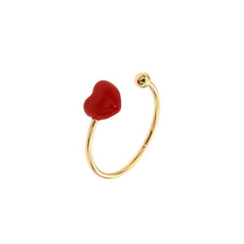 Red Heart Enamel Open Ring