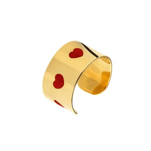 Hearts Enamel Cuff Ring